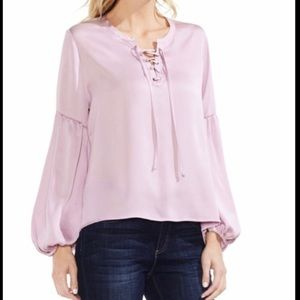 vince camuto ammered lace up lavender blouse M